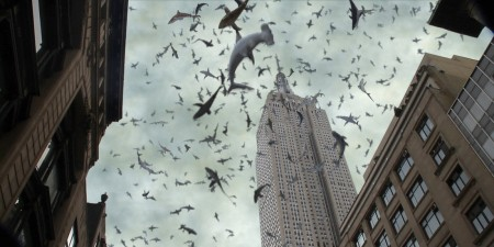 SHARKNADO 2: THE SECOND ONE -- Pictured: sharks, Empire State Building -- (Photo by: Syfy)